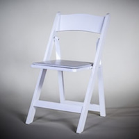 White resin folding chair for caterers in Silicon Valley